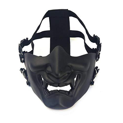 Airsoft Halbgesichtsschutzmaske, Kabuki Samurai Hannya Oni Halbgesichtsmasken für Männer und Frauen, taktische Prajna Halbgesichtsmaske für Spiele, Cosplay und Halloween-Party