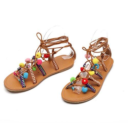 ASHOP Sandalias Mujer Bohemia Las Bailarinas Planas Zapatos de Cordones Verano Cuero de Gladiador Moda Zapatillas De Playa Sandalias y Chanclas de Cuero Cómodo Y Elegante