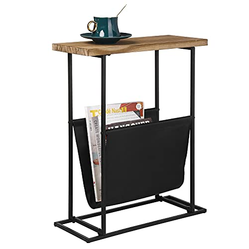 MyGift 21-Inch Modern Narrow Living Room End Table with Solid Burnt Wood Tabletop & Black Metal Frame/Bedroom Nightstand Side Table with Magazine Holder Sling