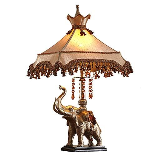 Escritorio Lámpara de estudio retro clásico dormitorio mesilla de noche lectura lámpara pantalla de tela con cristal lámpara colgante de resina creativa elefante de mesa E27 con interruptor de botón