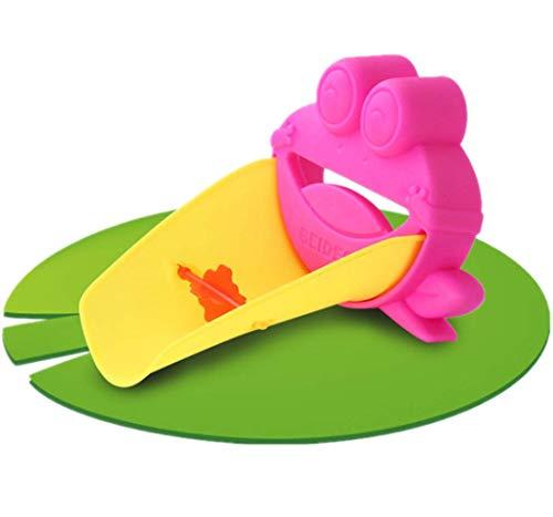 Kingnew - Alargador de grifo para niños, diseño de rana con dibujo animado, para niños pequeños (rojo)