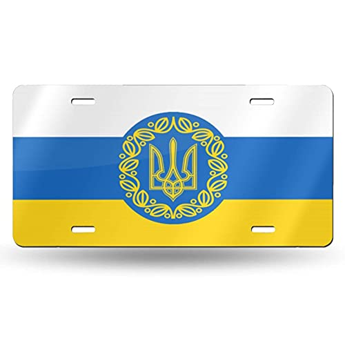AOOEDM National Emblem of Ukraine Cotton License Plate Aluminum Novelty License Plate Decorative Front Plate 6 X 12 Inch