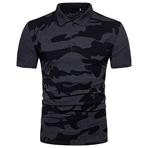 Camuflaje T-Shirt Hombre Básica Elasticidad Hombre Manga Corta Deportiva Camisa Cuello V Henley Camisa...