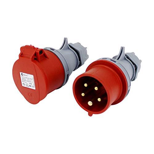 TPelectric - Set di connettori CEE 16 A, 5 poli, IP44, 400 V, VDE e CE