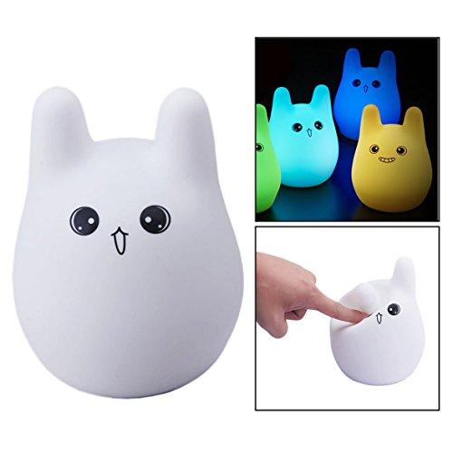Itian LEDemain Luce Notturna per Bambini con 7 Colori in Silicone, Forma del Coniglio di Controllo Touch