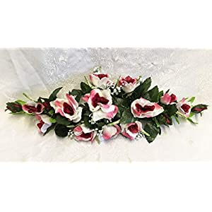 LINESS for Silk Roses Swag 2ft Artificial Flowers Wedding Arch Table Centerpiece Backdrop DIY LINESS for Wedding Flowers, Petals & Garlands Floral Décor – Color is Burgundy & Cream