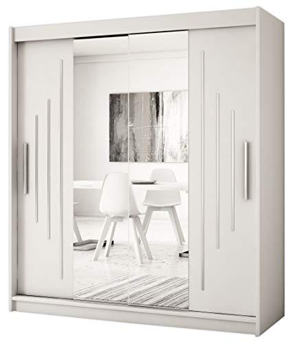 Kryspol Schwebetürenschrank York 1-180 cm mit Spiegel Kleiderschrank mit Kleiderstange und Einlegeboden Schlafzimmer- Wohnzimmerschrank Schiebetüren Modern Design (Weiß)
