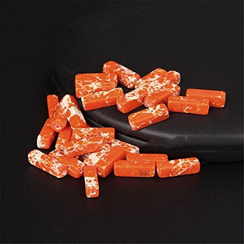 13 x 4 mm Imperial Ágatas Espaciador Perlas Planas Rectángulo Tubo Natural Piedra Perlas Sueltas Para Joyería DIY Pulsera Pendientes Emperador Naranja 5 Piezas