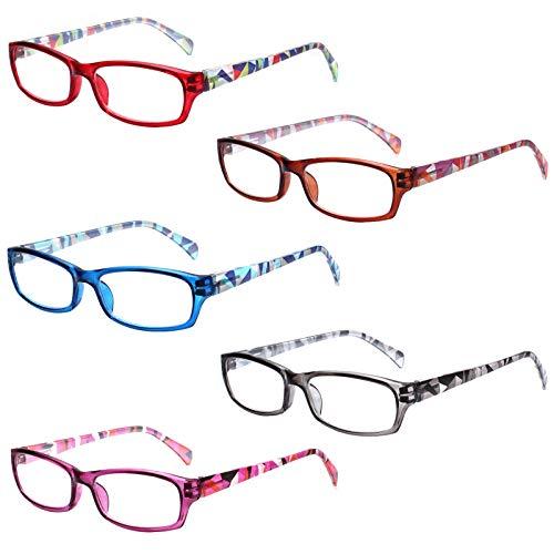 5 Paar Lesebrille Stilvolle Musterrahmen Leser Qualität Mode Damen Brille für Frauen (5 Farbe Mischen, 2.0)