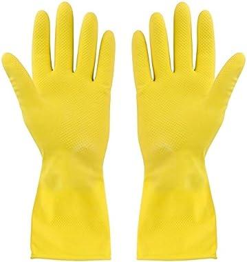 SellnShip Rubber Hand Gloves for Cleaning, Gardening, Dish-Washing, scrubbing, Kitchen. Flock-Lined Multi-Purpose, Anti-Slip