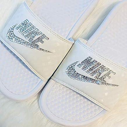 Swarovski Nike Slides Wedding All White Sandals Slip On Custom Bedazzled  Shoes By SparkleBoutique2U ae543f55f