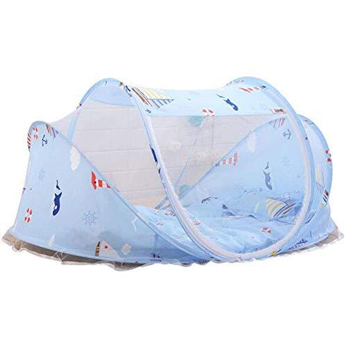 GANG Tienda de Viajes de Bebé Azul, 110 65 65 cm Mosquito Net Y Almohada Cama Portátil de Viaje para Bebé Pop Up Pleging Beach Tienda (Mosquitera) Elástico y transpirable
