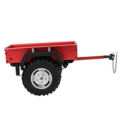 Cerlingwee Tractor RC práctico Resistente al Desgaste, Coche de Juguete con Remolque Antideslizante, vehículo RC Duradero de aleación de Aluminio para Coche RC 1/10(Red)