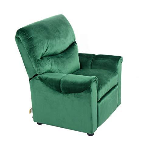 Cribel Teddie - Sillón Relax para niños, Estructura de Madera, Revestimiento de Terciopelo, Color Verde