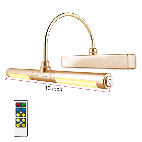 LUXSWAY Wireless Picture Light Battery Operated, Remote Control Painting Light with Rotatable Light Tube, Dimmable and Timer Off Art Display Light for Picture Frame Artworking Portrait -Orange Gold