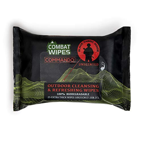 Combat Wipes Commando Black, Unscented Camouflage Wet Wipes   Thick, Ultralight, Biodegradable, Heavy Duty Cleansing Cloths for Camping, Military, Hunting & Backpacking (25 Wipes)