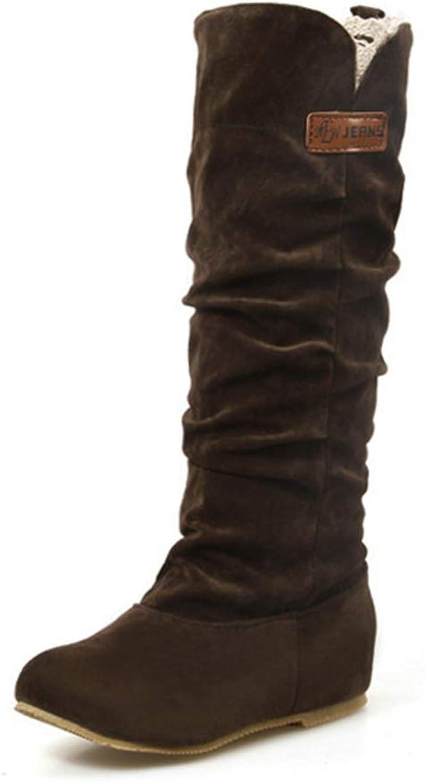 York Zhu Women Tan Boots,Slip-on Knee High Tall Winter Boots Women