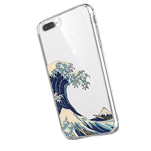 Inonler Custodia Giapponese Onde Arte Ukiyo-e di Molle Trasparente(Custodia iPhone 7 (4,7'))