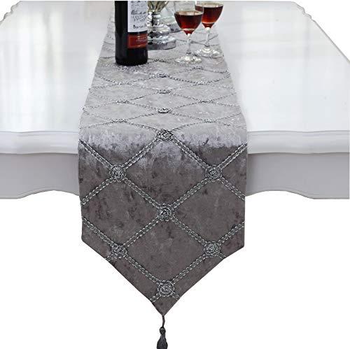 Luxus Samt Gitter Grau Tischläufer mit Wandteppich 210