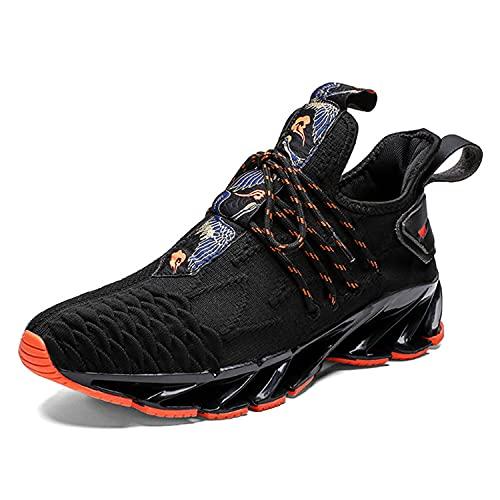 WJFGGXHK Zapatillas De Running para Hombre, Hi Top Trainers De Baloncesto Casual Moda para Caminar Zapatillas De Deporte Liviano,Negro,44