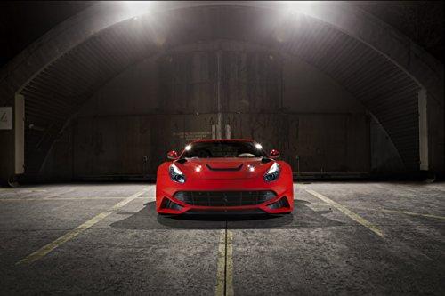 """Novitec N-Largo based on Ferrari F12berlinetta (2013) Car Art Poster Print on 10 mil Archival Satin Paper Red Front Static View 20""""x15"""""""