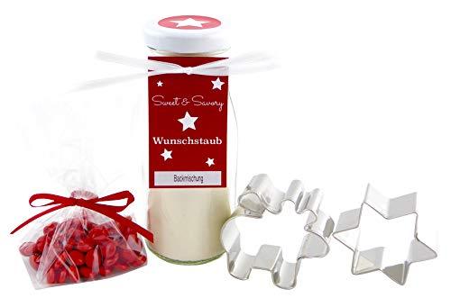 Geschenkset Elch, Backmischung für Elch-Butterplätzchen im Glas mit Plätzchen Ausstechform
