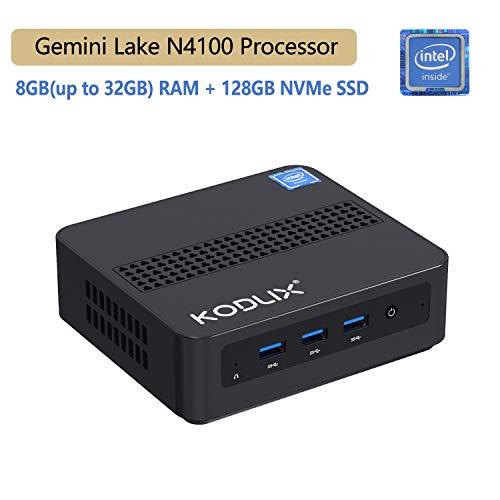 MINISFORUM Windows 10 Pro Mini PC, Intel Celeron N4100 Quad-Core Processor, 8GB DDR4 128GB SSD, Expandable 2.5 Inch 1TB HDD, Mini Desktop Computer Support 4K HD/HDMI+VGA Port/Dual WiFi/BT 4.2