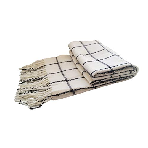 Etherious Natsu Dragneel White and Black Scarf for Men Women Tartan Shawl Long Stole