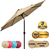 Quictent 9Ft Patio Umbrella 3 Years Non-Fading Outdoor Garden Table Canopy Market Umbrella Pool Backyard with Ventilation Top 8 Ribs 240G Yarn-Dyed Fabric with Push Button Tilt/Crank (Tan)