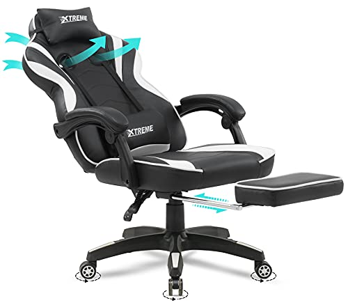 Olsen & Smith XTREME New and Improved 2021 Model Gaming Chair Ergonomic Office Desk PC Computer Recliner Swivel Chair Detachable Padded Head Rest Lumbar Support Cushion & Footrest (Black/White)