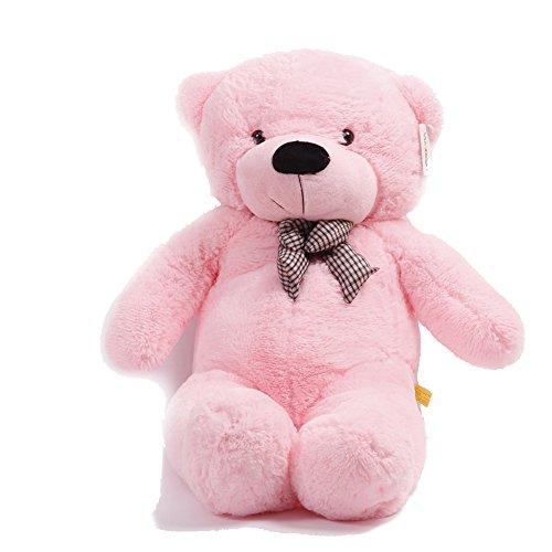 YunNasi Pink Rosa Riesen Teddybär XXL Kuschelbär 120 cm groß Plüschbär Original Teddy Bär mit Schleife Rosa (120CM/47'')