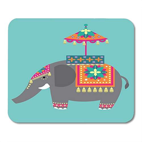 Muismat Indie Wit Paraplu Indien Olifant Festival Kleurrijke Versierde Royal mouses pad Mousepad