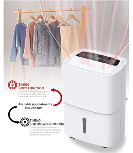 WQSFD Dehumidifier,9 Gallons/Day Spaces 1500 Sq,Sleep Mode,for Damp, Mould, Moisture in Home, Kitchen, Bedroom, Caravan… 4 - Our dehumidifier removes up to 30 pints (2012 DOE Standard) of water a day and adjust humidity from 35% to 85%, Perfect for use in Home, Basement, Cellar, Garage, Bedroom, Bathroom. Please note: depending on the climate in your area, as well as room size, you may need to purchase a larger unit for best effect. - This Energy Star certified dehumidifier is fit to quickly and effectively absorb moisture with minimal energy consumption in medium to large rooms, without racking up your energy bill. 48 dB peak sound so that you hardly notice it's there. In general, 50 decibels is probably just as loud as normal conversation. - Adjust to the ideal dehumidification setting, then let it run its continuous 24-hour cycle until the tank is full, it will automatically shut-off (Water Tank Capacity 4L) . If you don't have time, you can choose continuous drainage mode. You can use the gravity drain hose connection to empty water into your sump pump or floor drain, eliminating the need to empty the collected water by hand every few hours.