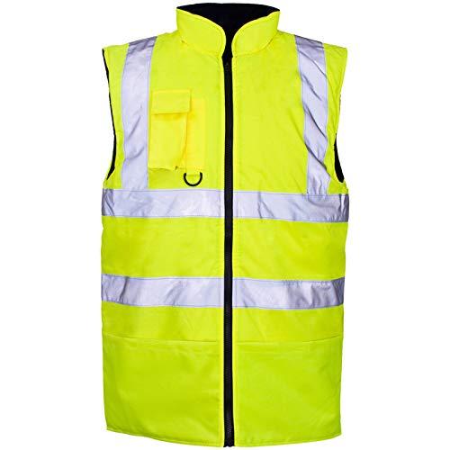 Hi Viz Vis - Chaleco de forro polar reversible de alta visibilidad reflectante impermeable ropa de trabajo de seguridad de desgaste cálido Chaleco calentador de cuerpo