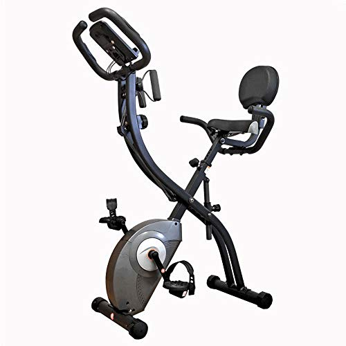 WMNRNYD Cubierta de Hilado de Bicicletas de Ejercicio Vertical con Respaldo y Multi Funcional Digital LCD Monitor, Bandas de Resistencia Ajustable Brazo