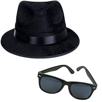Funny Party Hats Black Fedora Gangster Hat and Wayfarer Black Sunglasses
