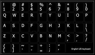 ENGLISH US NON-TRANSPARENT KEYBOARD STICKER BLACK BACKGROUND by 4Keyboard