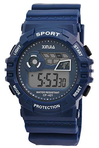 Xinjia Protection - Reloj Digital de Pulsera para Hombre (Cuarzo, Silicona, Alarma, cronómetro, Fecha, Estilo Retro, 80), Color Azul y Blanco