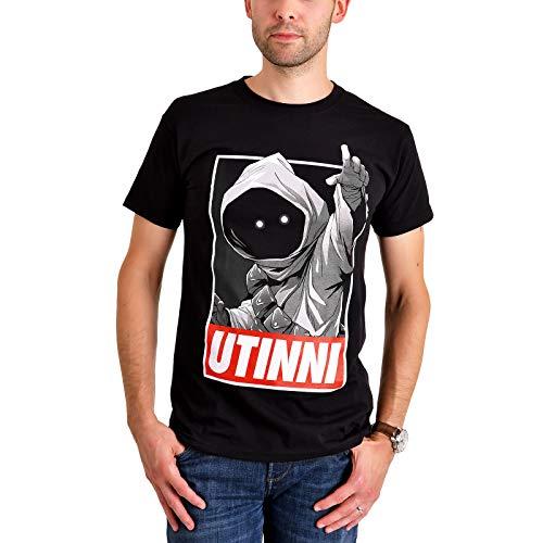 Elbenwald Star Wars T-Shirt Jawa Utinni Frontprint für Herren schwarz - S