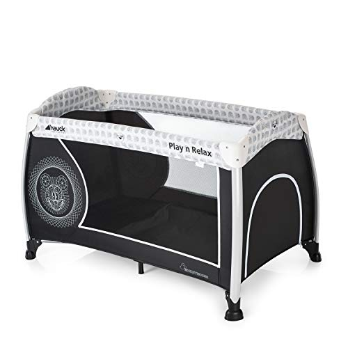 Hauck Disney Travel Cot Play N Relax / for Babys and Toddlers from Birth up to 15 kg / 120 x 66 cm / Wheels / Side Hatch / Foldable / Compact / Transport Bag Included / Mickey Cool Vibes / Black