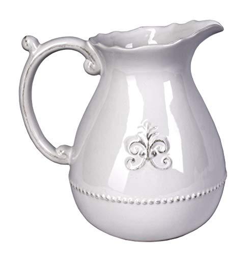 Porzellan Krug Landhausstil Kanne Weiss Milchkrug Wasserkrug Blumenvase Antikstil cw510 Palazzo Exklusiv