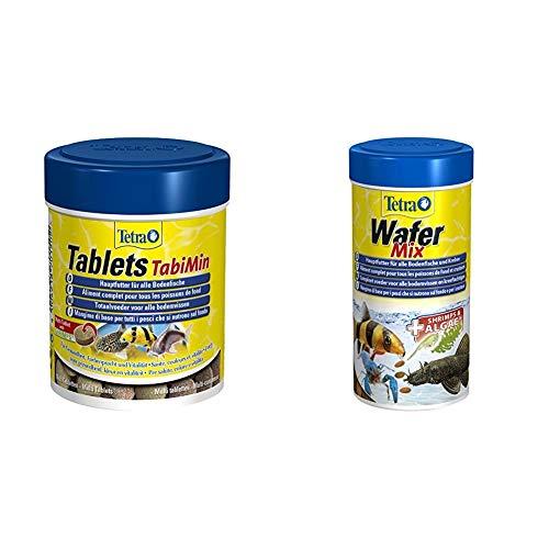 Tetra Tablets TabiMin Hauptfutter (Futtertabletten für am Boden gründelnde Zierfische), 275 Tabletten Dose & Wafer Mix - Fischfutter für alle Bodenfische (z.B. Welse) und Krebse, versch. Größen