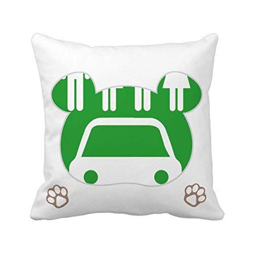 Cuatro personas vehículos de energía protegen el medio ambiente oso tiro almohada cubierta cuadrada