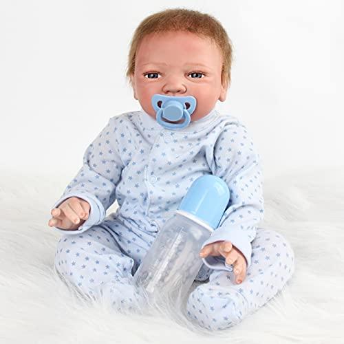 ZIYIUI Muñecas Reborn Bebé Realista 20 Pulgadas 50 cm Reborn Niño Suave Vinilo de Silicona Recien Nacidos Bebe Reborn Niño Regalo de Crecimiento Regalo de Juguete Muñecos Bebé Doll