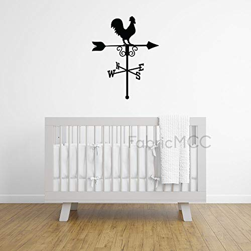 Weathervane with Rooster on Top Black Vinyl Wall Decals 12 Inch Wall Decor Family Inspirational Wall Stickers Quotes Stickers Decor for Living Room Bedroom Nursery
