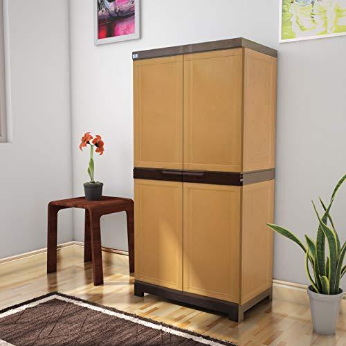 Nilkamal Freedom Mini 18 (FMSC18) Plastic Shoe Cabinet (Sandy Brown & Dark Brown)