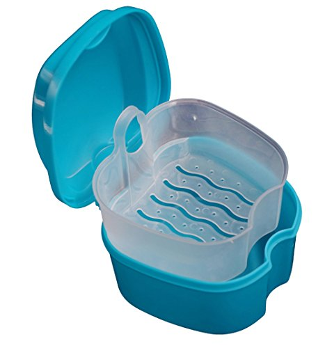 Dental Box Prothese Bad Kasten Gebissdose Zahnprothesendose Falsche Zähne Aufbewahrungsbox Speicher Kasten mit hängendem Netzbehälter