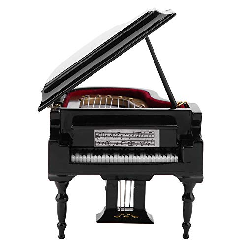 Fydun 10x9x4.5cm Piano Model Wooden Mini Piano Model Display Decoration Home Coffee House Ornament with Stool Gift for Girls Boys