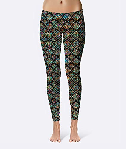Batik Ethnic Diamonds Premium Women's High Waist Leggings featuring original design by Artist Dan Morris