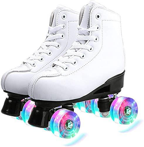 Pattini a Rotelle Bianchi per Donne e Uomini, Roller Skates Pattini 4 Rotelle Classici con Ruote in PU Illuminate a LED per Principianti All'aperto Per Interni Adolescenti per Adulti (EU35/ UK3)